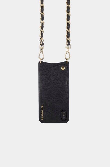 Bandolier Leather Crossbody Phone Case for iPhone - Lucy Black/Gold