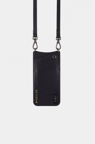 Bandolier Leather Crossbody Phone Case for iPhone - Emma Black/Pewter