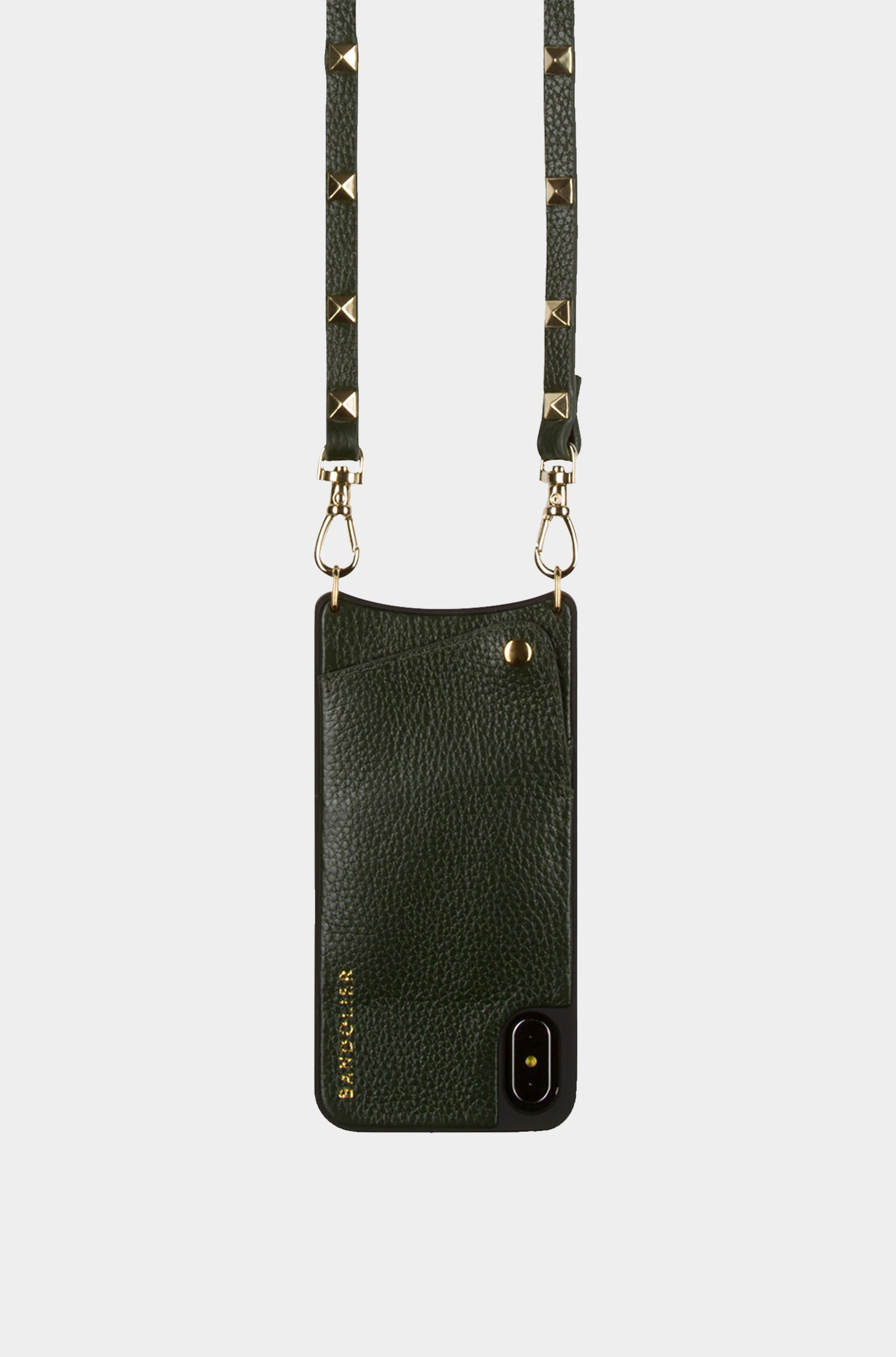 Bandolier Leather Crossbody Phone Case for iPhone - Sarah Evergreen/Gold