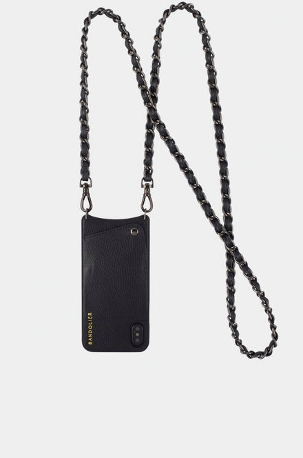 Leather Crossbody - Lucy Black/Pewter