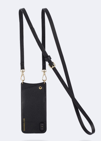 Bandolier Leather Crossbody Phone Case for iPhone - Emma Black/Gold