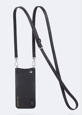 Bandolier Leather Crossbody Phone Case for iPhone - Emma Black/Silver