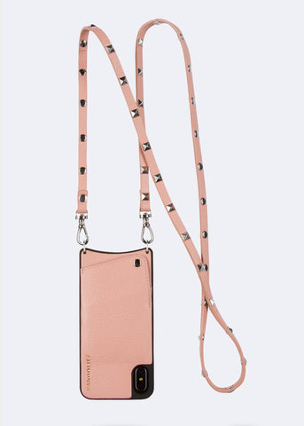 Bandolier Leather Crossbody Phone Case for iPhone - Emma Blush/Silver