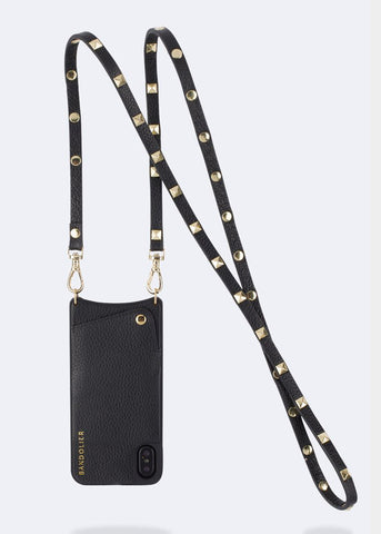 Bandolier Leather Crossbody Phone Case for iPhone - Sarah Black/Gold