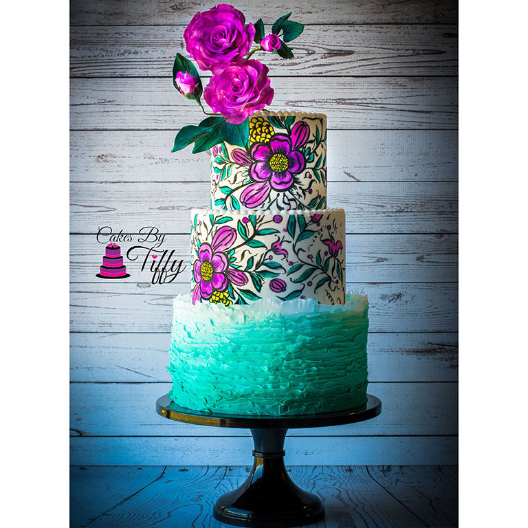 Painted Stencil and Ruffle Cake with Roses