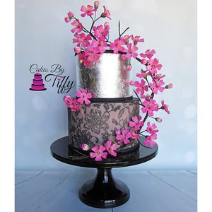 Stencil, Sugar Flowers and Silver Leaf Cake