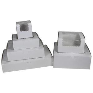 White Cupcake Boxes - With Window (4 Regular Cupcakes)