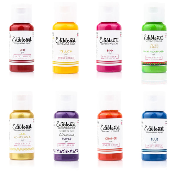 Edible Art Paint - Rainbow 8 Pack 15ml