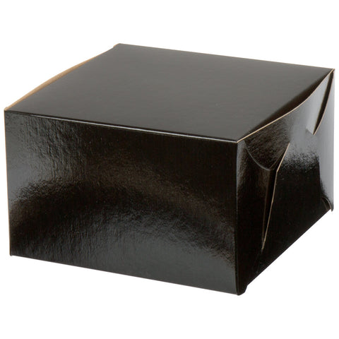 Black Bakery Boxes - Glossy 8 x 8 x 5""