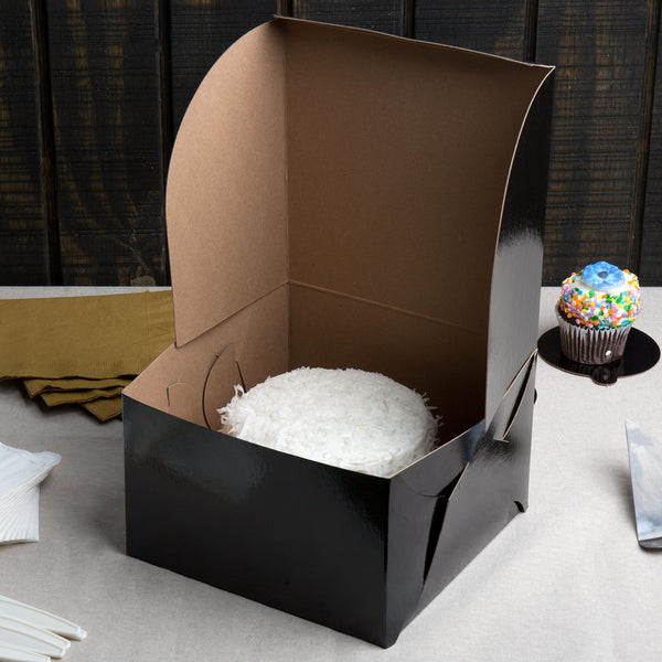 Black Bakery Boxes - Glossy 12 x 12 x 6""