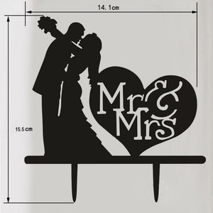 Cake Topper - Mr & Mrs with Kiss