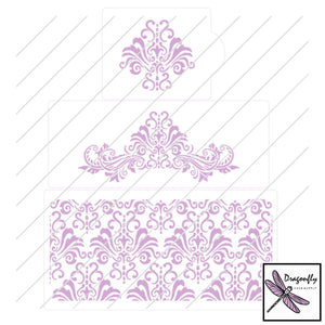 Stencil Set - Damask (3 pieces) - Dragonfly Cake Supply, Alberta, Canada