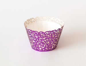 Cupcake Wrappers - Purple Foil - Pkg of 12