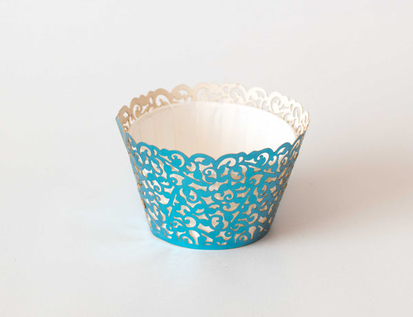 Cupcake Wrappers - Blue Foil - Pkg of 12
