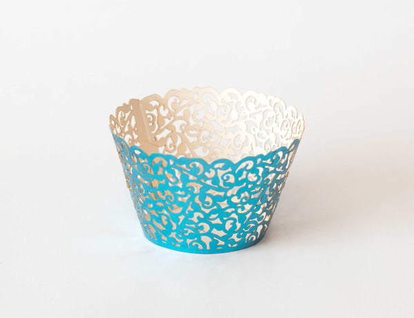 Cupcake Wrappers - Blue Foil - Pkg of 12 - Dragonfly Cake Supply, Alberta, Canada