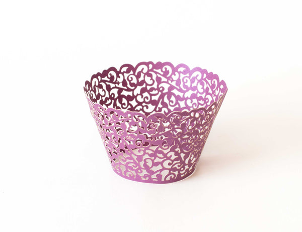 Cupcake Wrappers - Purple Dark Shimmer - Pkg of 12 - Dragonfly Cake Supply, Alberta, Canada