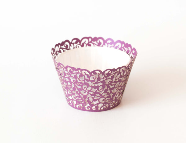 Cupcake Wrappers - Purple Dark Shimmer - Pkg of 12