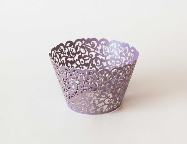 Cupcake Wrappers - Purple Light Shimmer - Pkg of 12 - Dragonfly Cake Supply, Alberta, Canada