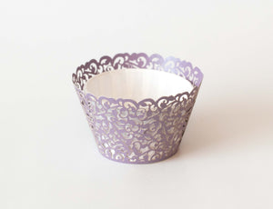 Cupcake Wrappers - Purple Light Shimmer - Pkg of 12