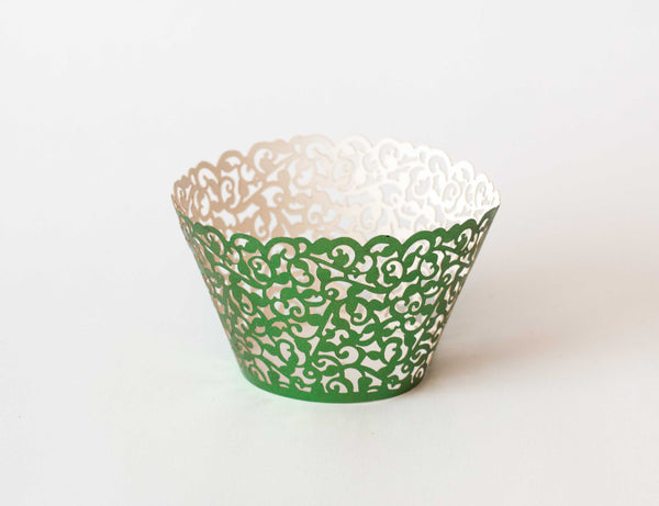 Cupcake Wrappers - Green Foil - Pkg of 12