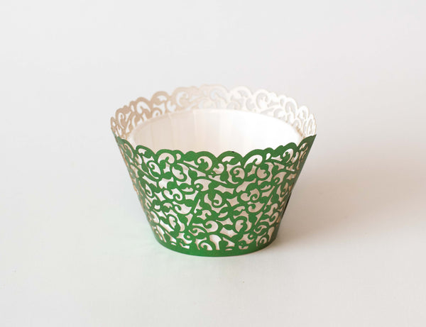 Cupcake Wrappers - Green Foil - Pkg of 12 - Dragonfly Cake Supply, Alberta, Canada