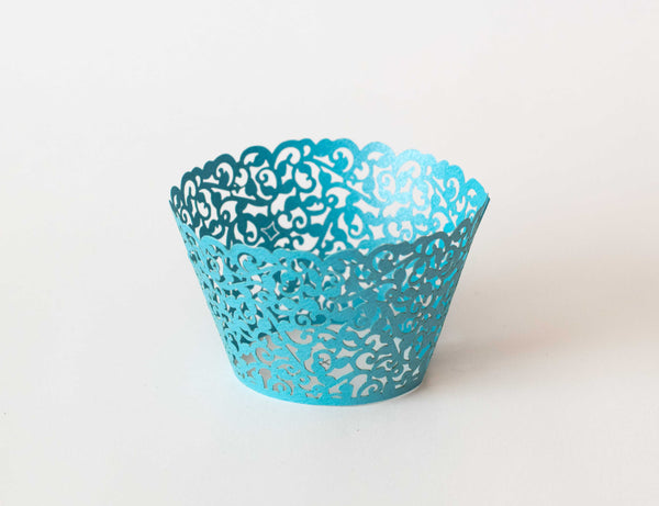 Cupcake Wrappers - Blue Shimmer - Pkg of 12 - Dragonfly Cake Supply, Alberta, Canada