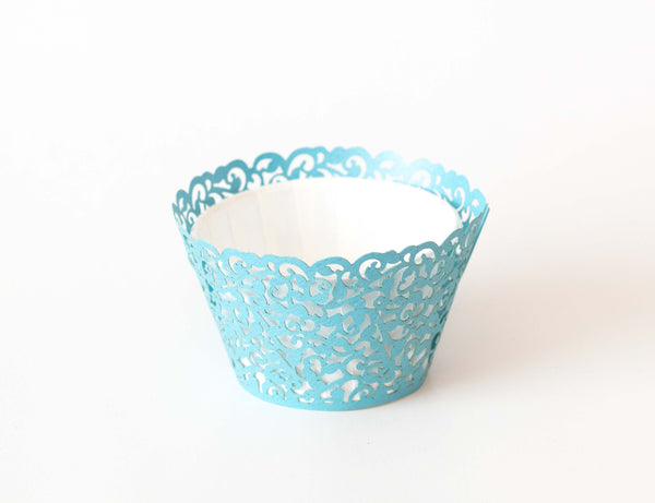 Cupcake Wrappers - Blue Shimmer - Pkg of 12