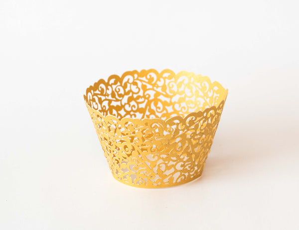 Cupcake Wrappers - Gold Shimmer - Pkg of 12 - Dragonfly Cake Supply, Alberta, Canada