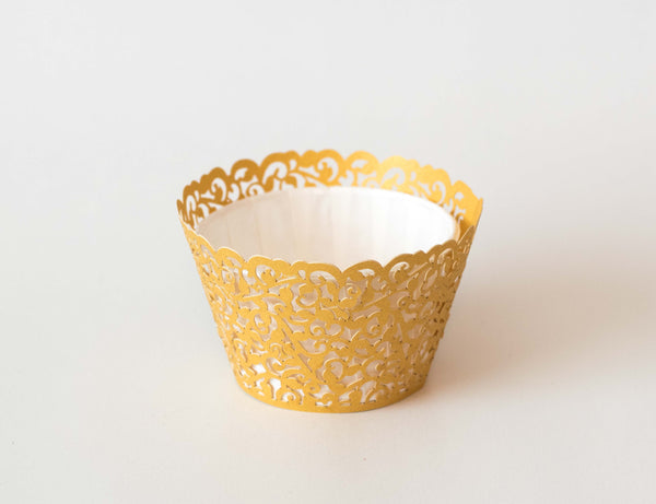 Cupcake Wrappers - Gold Shimmer - Pkg of 12