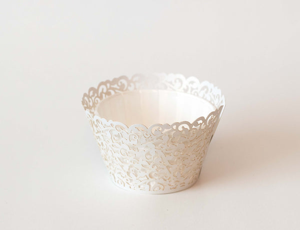 Cupcake Wrappers - White Shimmer - Pkg of 12
