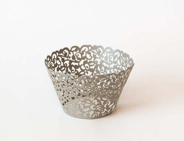 Cupcake Wrappers - Grey Shimmer - Pkg of 12 - Dragonfly Cake Supply, Alberta, Canada