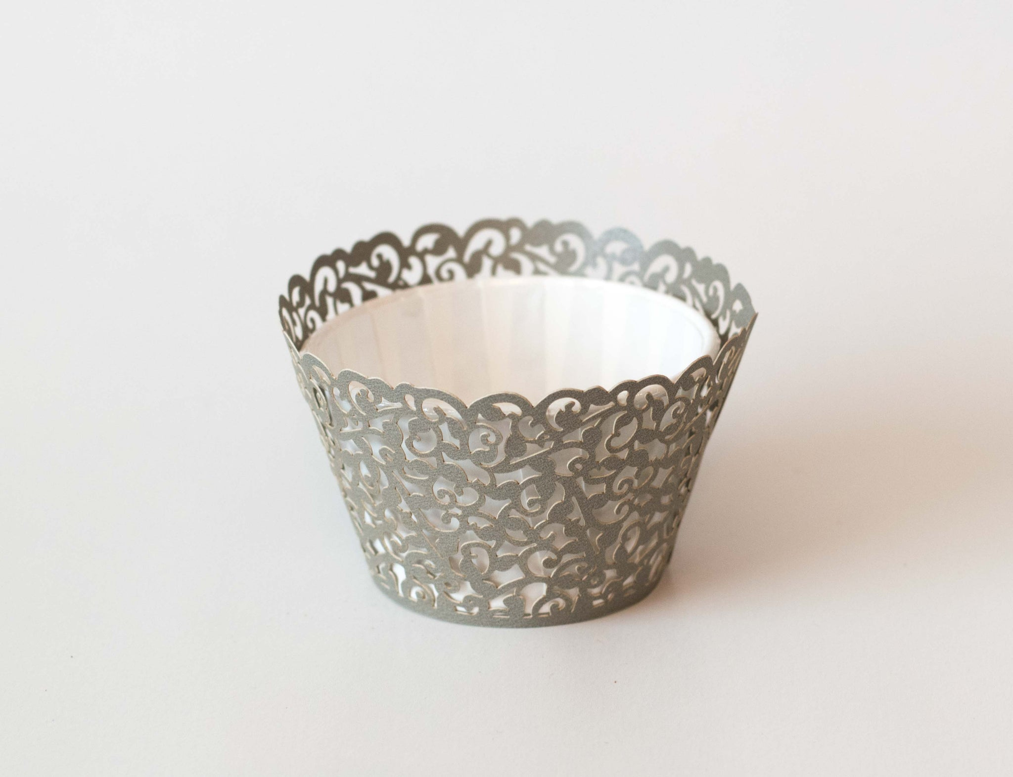 Cupcake Wrappers - Grey Shimmer - Pkg of 12