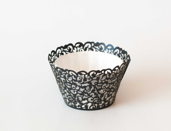 Cupcake Wrappers - Grey Dark Shimmer - Pkg of 12