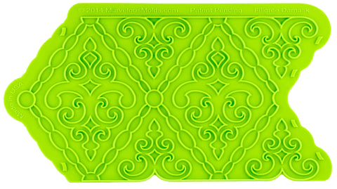 Filigree Damask Pattern Silicone Onlay® - Dragonfly Cake Supply, Alberta, Canada