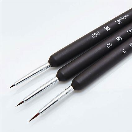 Fine Detailing Paint Brushes - Black (3 Piece Set)