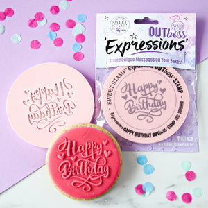 SWEET STAMP - OUTboss Expressions - Hearts Happy Birthday