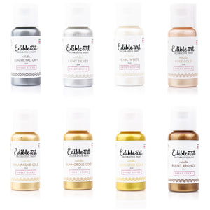 Edible Art Paint - Metallic 8 Pack 15ml - Dragonfly Cake Supply, Alberta, Canada