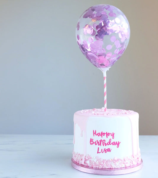 SWEET STAMP TOPPERS - Pink Metallic Mini Confetti Balloons