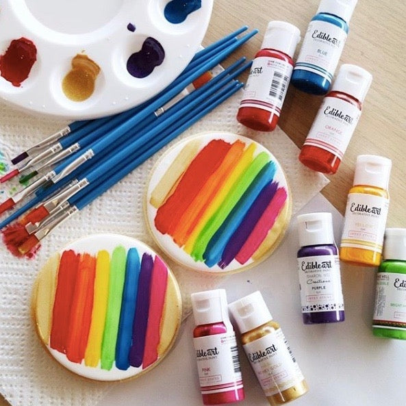 Edible Art Paint - Rainbow 8 Pack 15ml - Dragonfly Cake Supply, Alberta, Canada