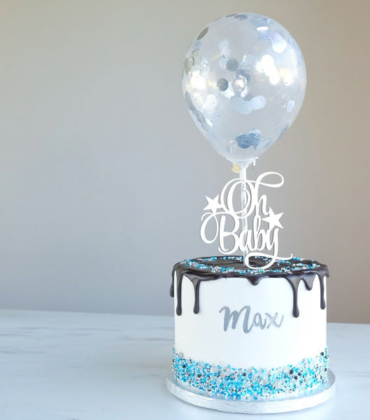 SWEET STAMP TOPPERS - Silver Metallic Mini Confetti Balloons
