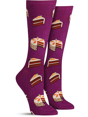 Women's Carrot Cake Socks - Purple - Dragonfly Cake Supply, Alberta, Canada