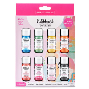 Edible Art Paint - Colour Metallic 8 Pack 15ml