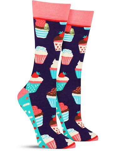 Women's Cupcake Socks - Purple