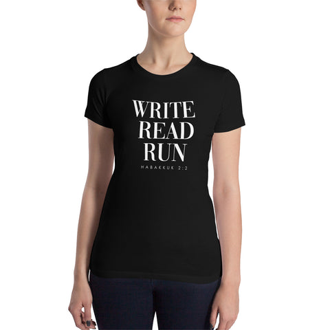 Write. Read. Run! Women's Slim Fit T-Shirt