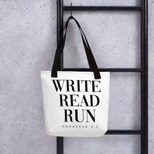 Write. Read. Run. Tote bag