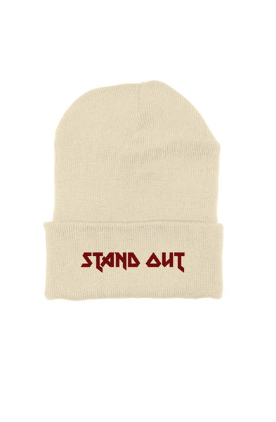 STAND OUT Red Metallic embroided beanie (Cream)