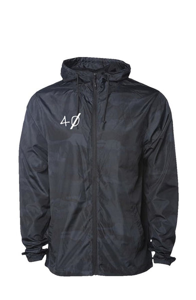 """40 Embroided"" Black Camo Water Resistant Windbreaker"