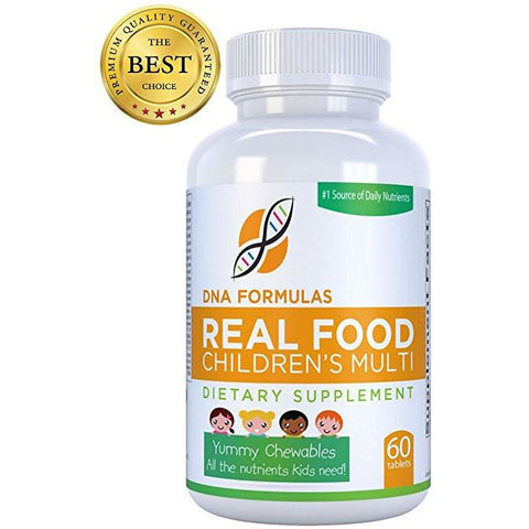 DNA Formulas Wholefood Children's Chewable Multivitamins - 60 Chewable Tablets - Protects the Body from Environmental Toxins, Pollution and Superbugs - Kids Chewables for Easy Absorption - Broadspectrum Antioxidants