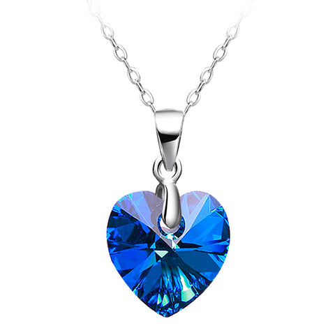 925 Sterling Silver Austrian Crystal Heart Necklace
