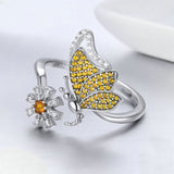 925 Sterling Silver CZ Yellow Daisy Butterfly Adjustable Ring